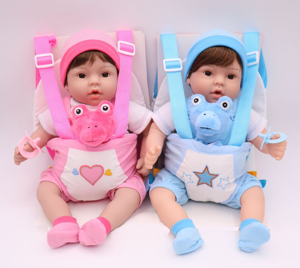 40 cm Silicone Reborn bébé poupée jouet vinyle bebe vivant jumeaux bleu/rose porte-bébé élingue bonecas jouet réaliste enfant cadeau d'anniversaire