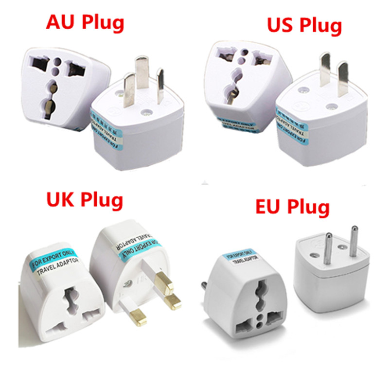 100pcs US EU AU To UK Plug Adapter American Australian European British AC Travel Power Adapter