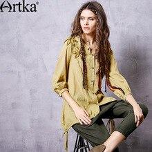 Artka Women's Autumn New 2 Colors All-match Shirt Vintage Three Quarter Lantern Sleeve Flower Decoration Shirt SA10360Q
