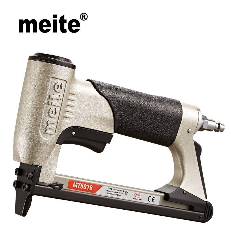 Meite MT8016 21GA coroa 12.8 milímetros comprimento 6-16 80 grampos grampeador de arame fino mm mobiliário série pneumática nailer arma Jun.14 Atualização