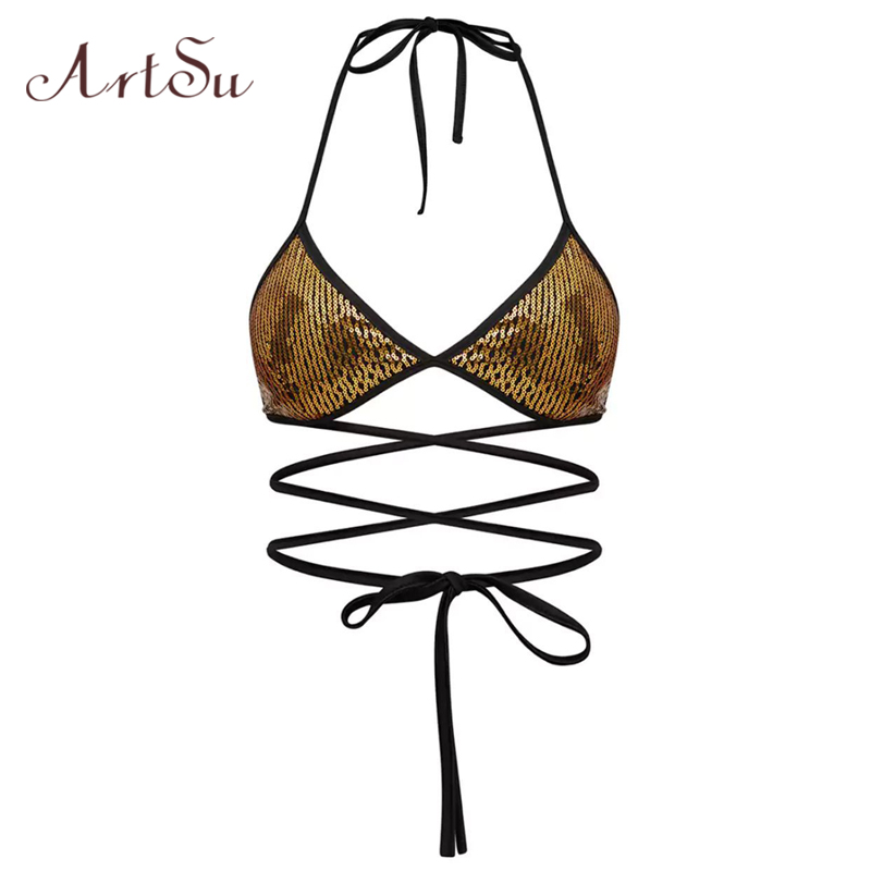 ArtSu Sequins Halter Lace Up Camis Bralette Sexy Crop Top Bra Tank Tops Women Club Party Backless Slim Short Camisole ASBR30023