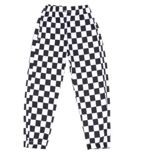 New Fashion Kids Spring Autumn Costumes Pants Black White Plaid Casual Loose Harem Hip Hop Street Dance Clothes Tassel Trousers