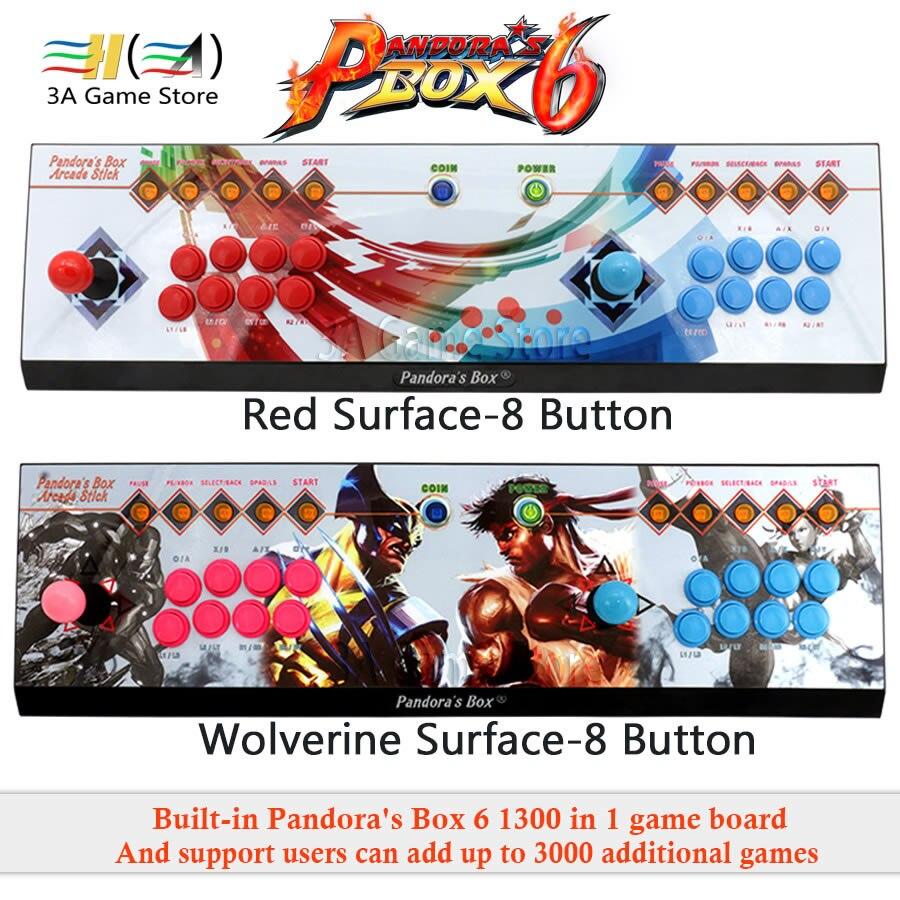 Boîte de pandore 6 8 Bouton arcade console 1300 dans 1 peut ajouter 3000 jeux soutien 3D Jeu de Combat 2 joueurs usb joystick pour pc ps3