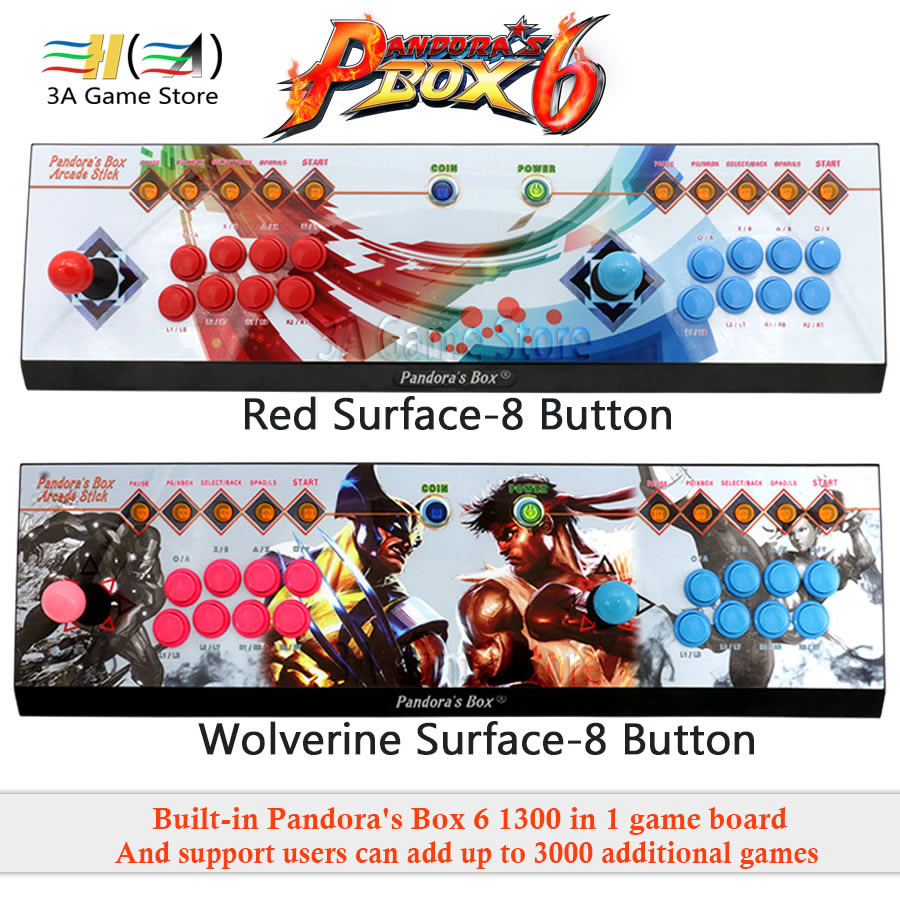 Il vaso di pandora 6 8 Pulsante di arcade console 1300 in 1 in grado di aggiungere 3000 giochi supporto 3D Gioco di Combattimento 2 i giocatori joystick usb per pc ps3