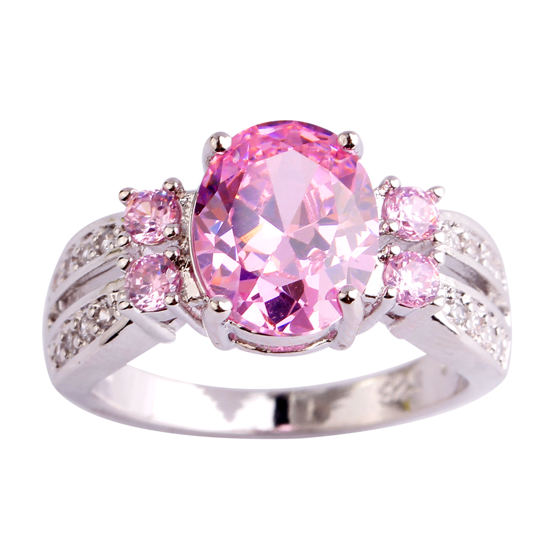 AAA CZ Crystal Wholesale Plated Silver Ring Size 6 11 Pink CZ Women ...