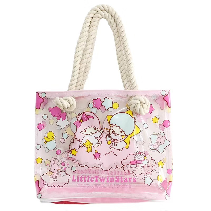 1pc Cartoon My Melody Cinnamoroll Dog Girls Transparent Bench Waterproof Shoulder Bags