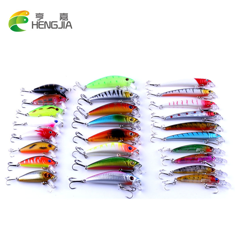 HENGJIA Mixed Fishing Lure Bait Set Kit pesca fishing Wobblers isca artificial Crankbait Swimbait Treble Hook floating fake lure hight quality 50pcs lot 1cm fishing lure smell great fake isca de pesca carpa isca float carp artificial bait corn grain zb133