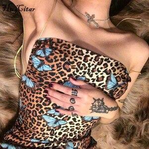 Image 3 - Hugcitar הדפס מנומר ללא משענת סקסית bodycon מיני שמלת 2019 קיץ נשים אופנה סלאש צוואר slip מפלגה בגדי streetwear