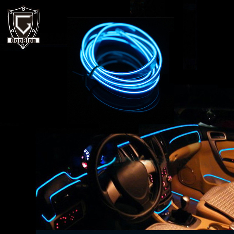 GOOGION Interior Car Lighting EL LED 12V Car Interior Light Accessories AUTO Lamp For Cars Decoration LED Strip Light Line