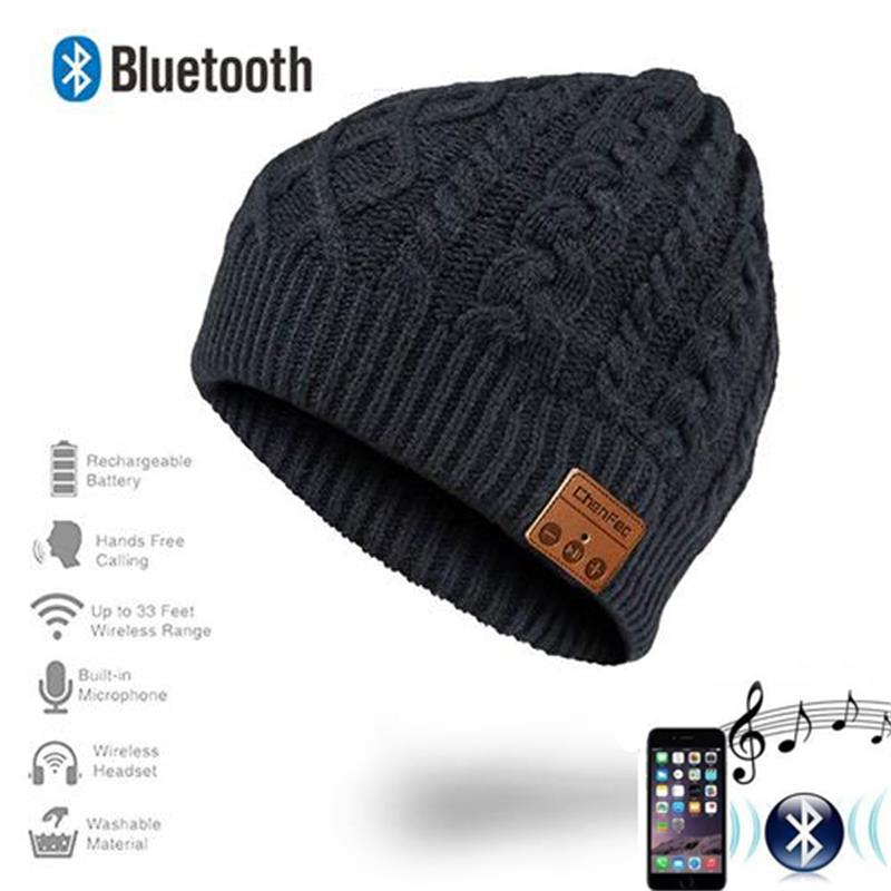 2019  Wireless Bluetooth Beanie Hat Cap with Removable Bluetooth Headset Headphone Speaker Mic Sport Outdoors Hat Best Gifts