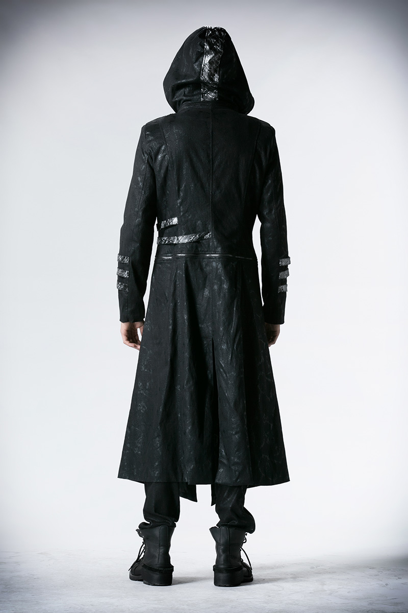 Мужские тренчи в стиле стимпанк черные Саржевые пальто с кожаным готическим капюшоном съемные длинные зимние пальто - 4