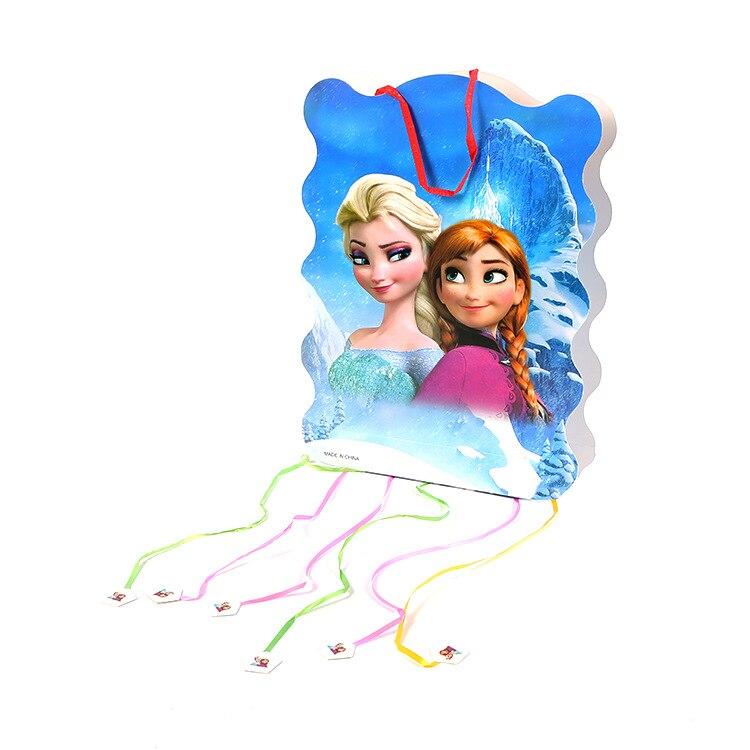 1pc 40x30x8.5cm Anna elsa Princess Pinata play Princess party game bingo paper folding pinata 6 rope Party Birthday Decoration