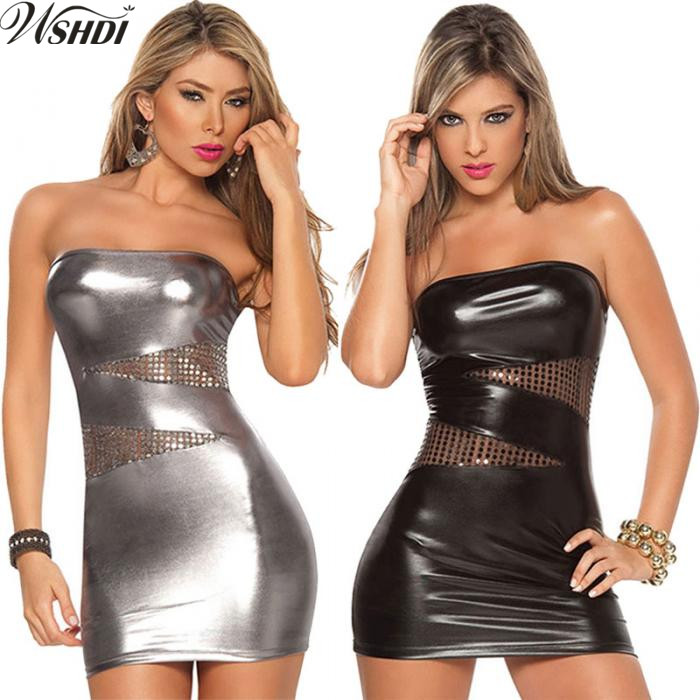 XXXL New Sexy Strapless Bodycon Leather Mini Dress Women Night Club Pole Dance Wear Latex Mini Dress Catsuits Cat Suits Vestidos
