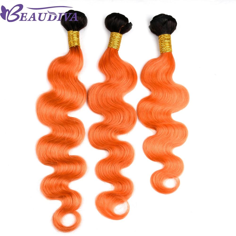 BEAU DIVA Hair Bundles Human Hair Bundles Remy Hair TB/Orange Body Wave Extensions 4 Piece Bundles 10-26 inch Free Shipping