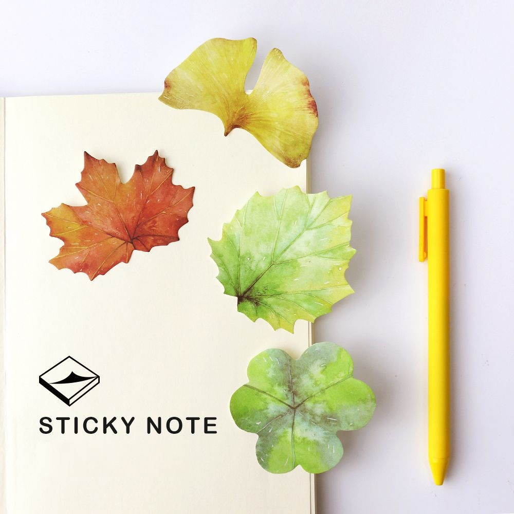 4 pcs/Lot Vintage leaf sticky note Self-adhesive memo pad Paper stickers diary School post Office supplies Stationery CM112