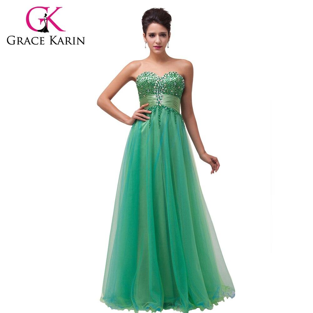 Emerald Green Evening Dresses Grace Karin 2017 Sweetheart Beading ...