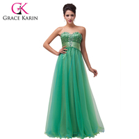Free Shipping Grace Karin Sweetheart Beadings And Sequins Tulle Green Evening Dresses Beaded Long Party Dress