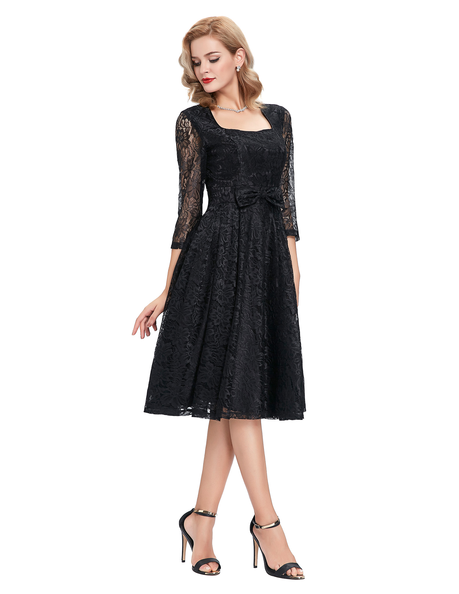 Rockabilly Summer dress women Vintage square Neck Slim Sexy Pin up Rockabilly Vestidos Party Black Lace Dresse 2018