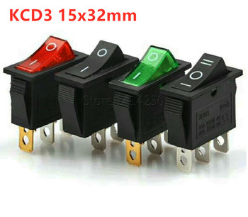 цена на KCD3 Rocker Switch 16A 250V 20A 125VAC 2Pin/3Pin ON-OFF ON-OFF-ON 2  / 3Position KCD3-102/N 15*32mm Power Switch Reset Switch