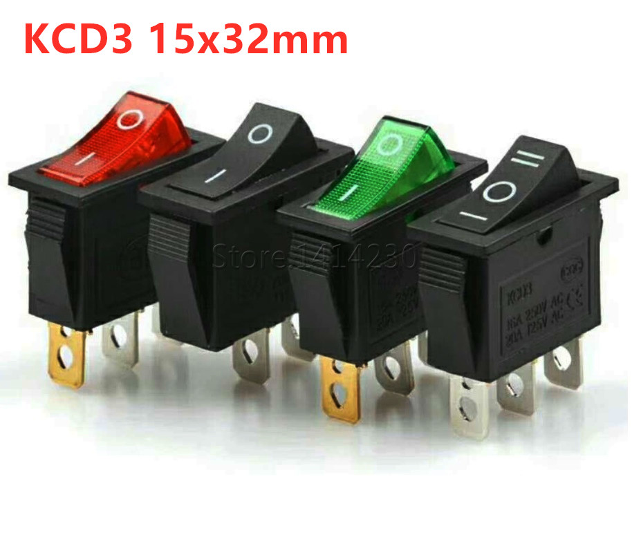 50PCS Red light Button On-Off DPST Boat Rocker Switchs KCD3 16A//20A 250V//125V AC