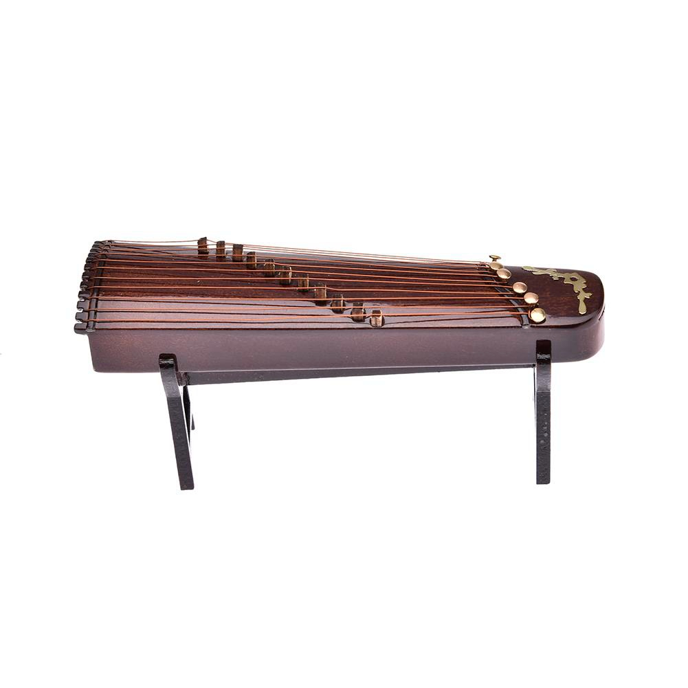 Hot Wooden  Mini Musical Instrument Handmade Miniature Guzheng Model Ornaments Commemorative Gifts 10cm-in Figurines & Miniatures from Home & Garden