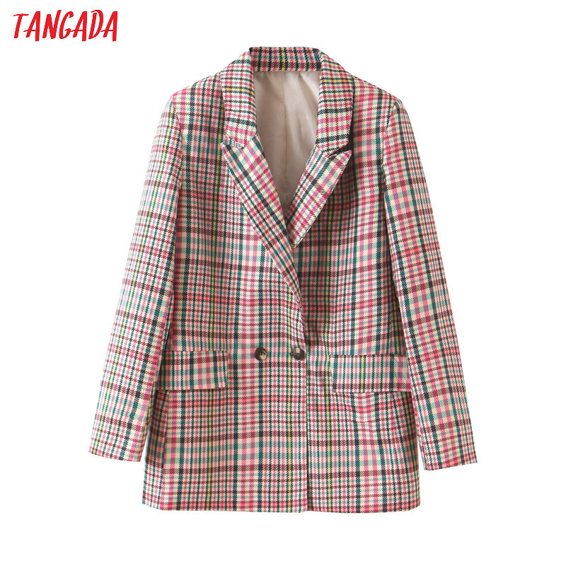 Tangada Women Vintage Plaid Blazer Vintage Chic Female Long Sleeve Elegant Jacket Ladies Work Wear Blazer Formal Suits SL434