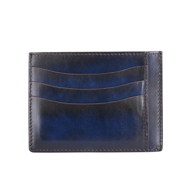 TERSE_10 MOQ engraving handmade leather card holder men high quality luxury card wallet customize logo genuine leather OEM ODM