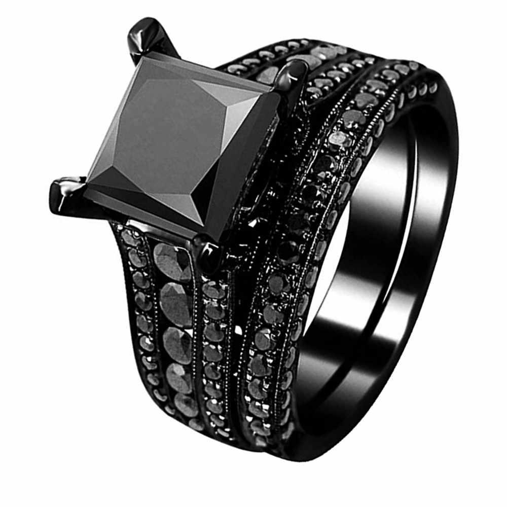 ของเขาคู่แหวนสีดำ 316L สแตนเลสเจ้าหญิงตัดลูกบาศก์ Zirconia หมั้นงานแต่งงานแหวนชุด