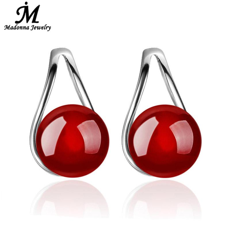 6079b34fb Detail Feedback Questions about Fashion Natural Black Red Color stone Women Silver  Stud Earrings Ear Jewelry Fresh Style Fit Girl Party Jewelry Wholesale on  ...