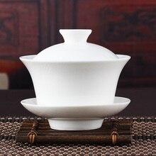 Chinesische Zeremonie Gaiwan Tee Terrine, Keramik Weiß Porzellan Teesiebe, Jade Porzellan Keramik Teekanne, Kung Fu Tee topf
