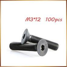 100 шт. M3x12 мм M3 * 12 мм, плоская головка с потайной головкой, черная, класс 10,9, легированная сталь, Шестигранная головка, крышка, винты, гвозди, бо...