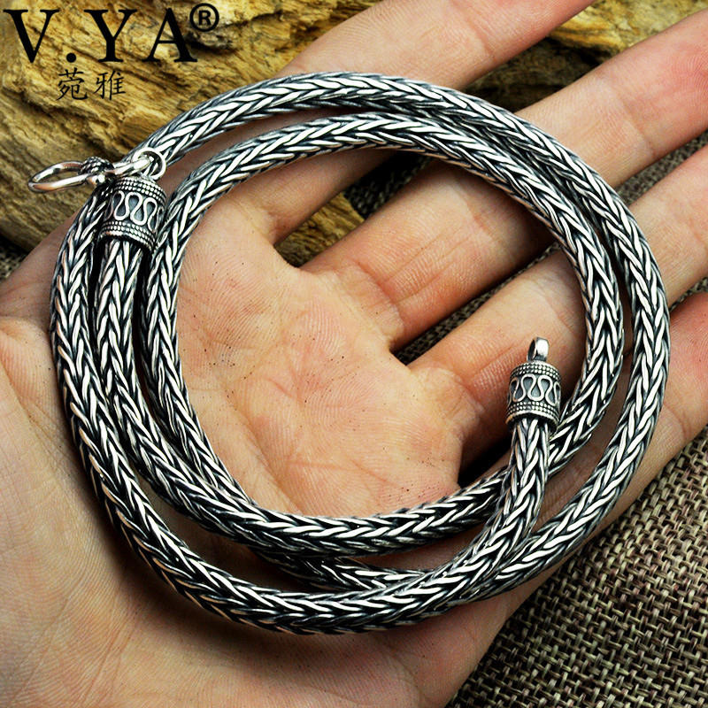V YA 5MM Solid 925 Sterling Silver Snake Chain Necklaces For Men Punk Style Thai Silver