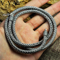 V.YA 5MM Solid 925 Sterling Silver Snake Chain Necklaces For Men Punk Style Thai Silver Necklace 50cm 55cm 60cm