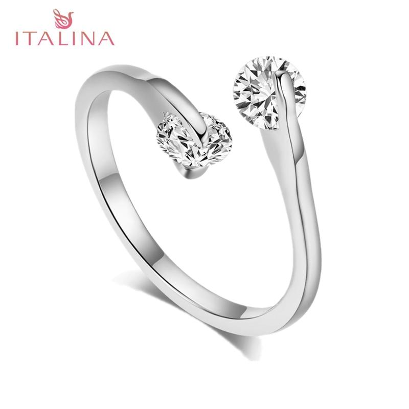 Genuine Italina Rose Gold Color 2 Stone Ring Ladies Fashion ...