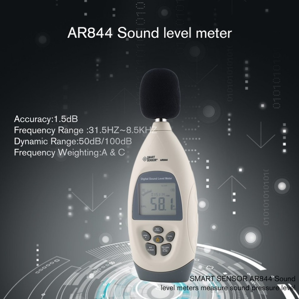 SMART SENSORAR844 Sound level meters Decibel meter logger Noise Audio detector Digital Diagnostic-tool Automotive 30~130db цена
