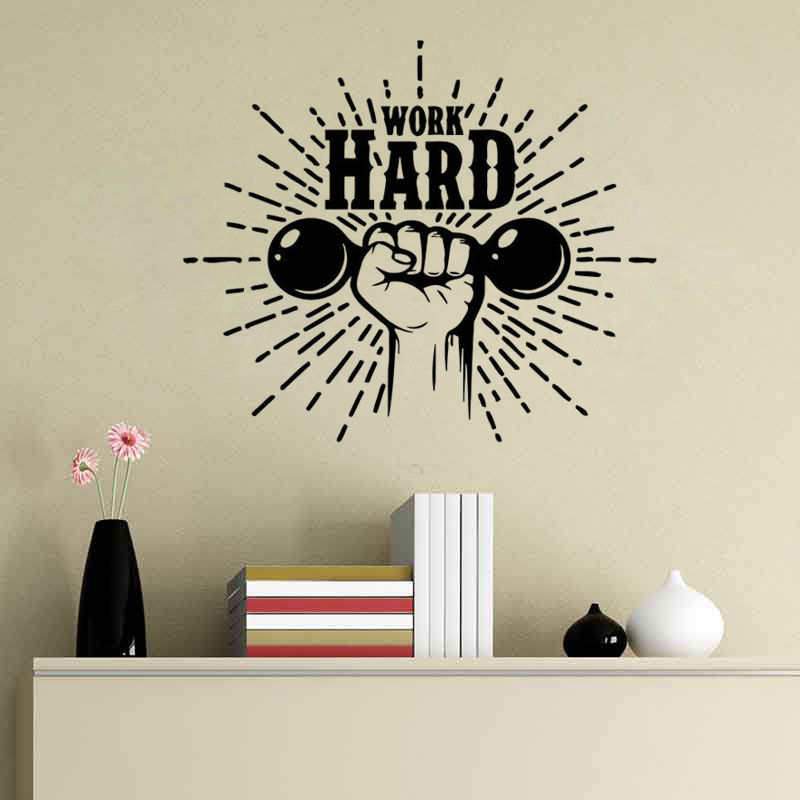 Work Hard Quote Wall Sticker Gymnasium Wall Decal Gym Wall Decal Sport Decors