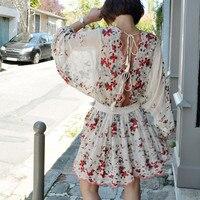 Богемный Шелковый мини платье с длинным рукавом связать кисточкой выдалбливают пикантные летние Backelss платья Разноцветные лепестки вишня в