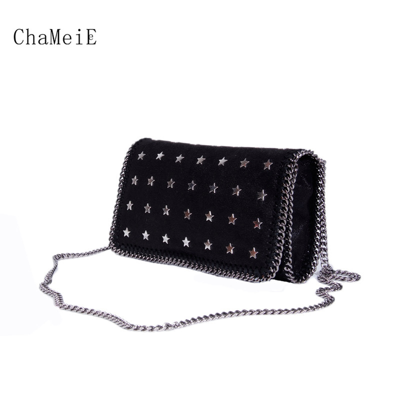 купить New Arrival Handmade Dimond Small Women Flap Bag Star Rivet Messenger Bag Famous Brand PVC Chain Crossbody Bag Lady Shoulder bag по цене 5569 рублей