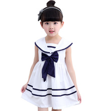 2016 Summer childrens clothing girls bow navy cotton dress baby girl clothes