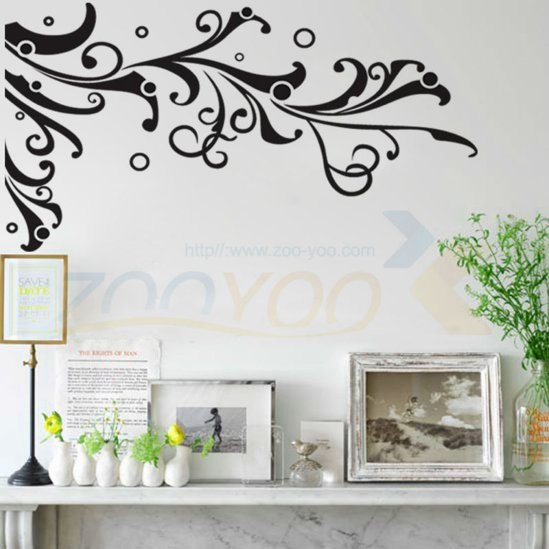 online get cheap grote bloem muurstickers woonkamer zwart, Deco ideeën
