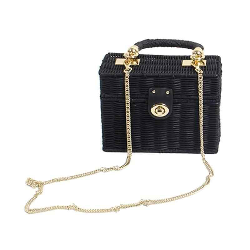 2b0fd0b72f ... Fashion Women Straw Crossbody Bag Summer Handmade Beach Chain Messenger Shoulder  Bag Case Box Wicker Woven ...
