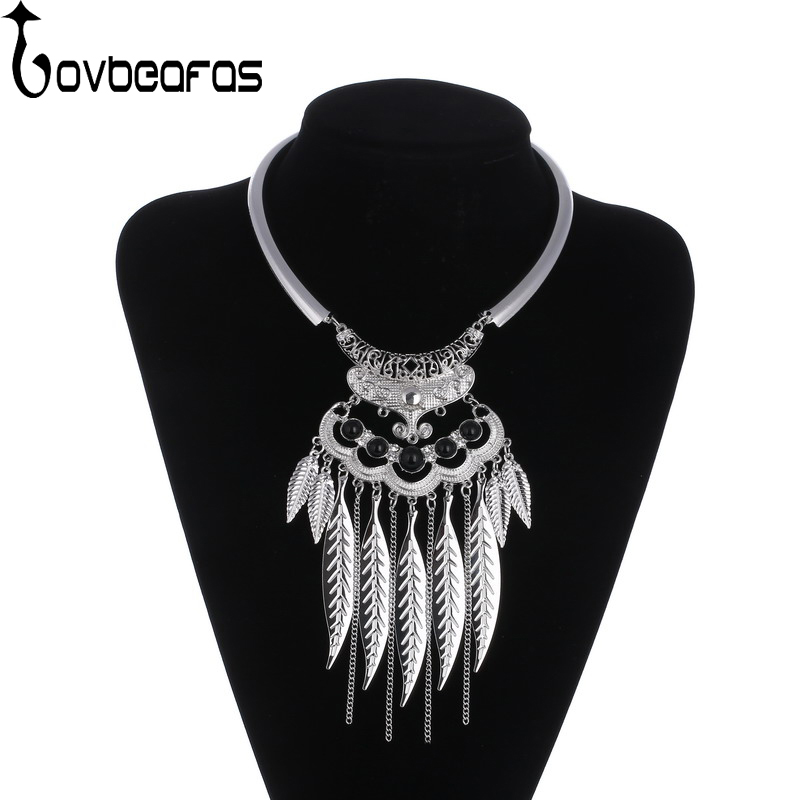 LOVBEAFAS Fashion Bohemian Maxi Choker Necklace Vintage Statement Collier Necklace Leaves Tassel Silver Fine Jewelry Collares