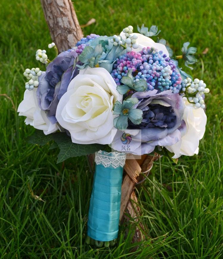 Handmade artificial flower wedding flower bridal bouquet vintage purplish blue rose