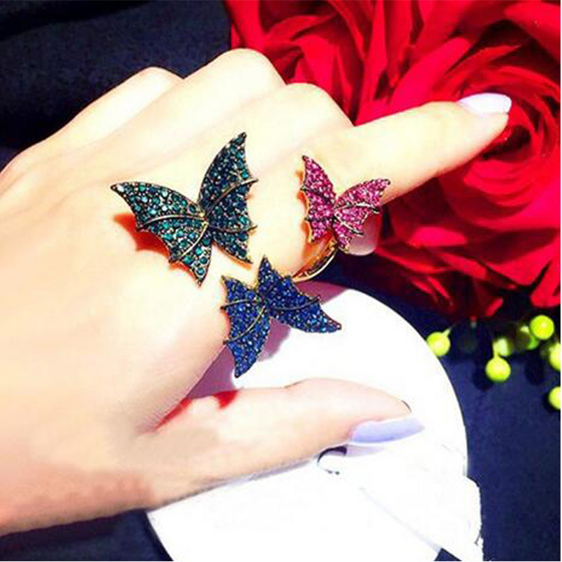 vintage elegant Luxury design Three butterflies crystal butterfly Rings adjustable anillos mujer bijoux femme women jewelry