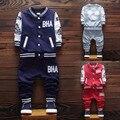 2017 Venta Caliente Chicos Ropa Set Carta Cardigan Escudo Bomber Jacket Pantalones dos Piezas de 5 Colores para Niño niño 1 2 3 4 Año de edad