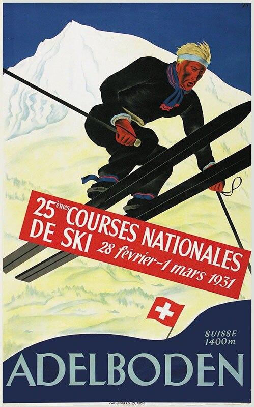 Switzerland Berne Travel Posters Courses Nationales De Ski