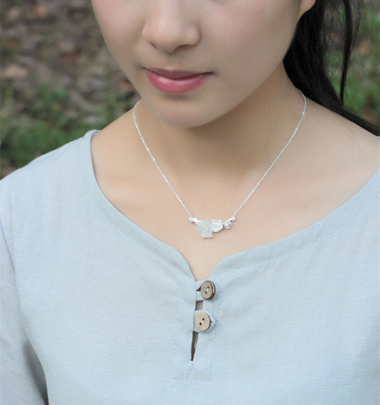 Цветок в дождь Серебро 925 колье Цепочки и ожерелья для Для женщин ручной работы тайский серебро авторские украшения Натуральный камень ориг...