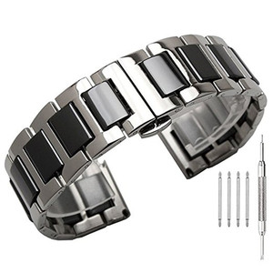 Image 1 - 22mm 20mm Stainless Steel with Ceramic Strap for Samsung Gear S3 Band for Galaxy Watch 3 Bracelet 41mm 45mm 46mm/42mm/Active 2