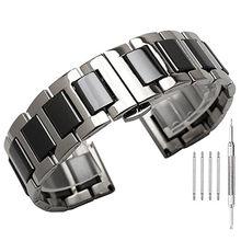 ba9ae3af 22 мм складной Пряжка Нержавеющая сталь с Керамика замена Браслет ремешок  для samsung Шестерни S3 Frontier/классические часы Ban.