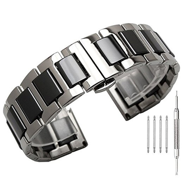 22mm Folding buckle Stainless Steel with Ceramic Replacement Bracelet Strap for
